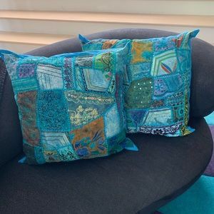 Two Patchwork Turquoise Pillows
